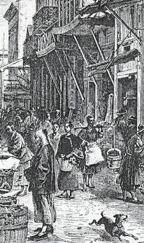 Calle del Mercado de San Francisco (grabado del siglo XIX)
